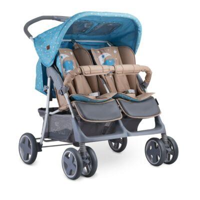 Lorelli Twin iker babakocsi - Blue&Beige Moon Bear 2019   Lorelli Twin újszülött iker babakocsi     Kényelmes utazás iker babáknak!